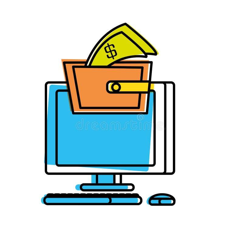 Υπολογιστής γραφείου με το πορτοφόλι διανυσματική απεικόνιση