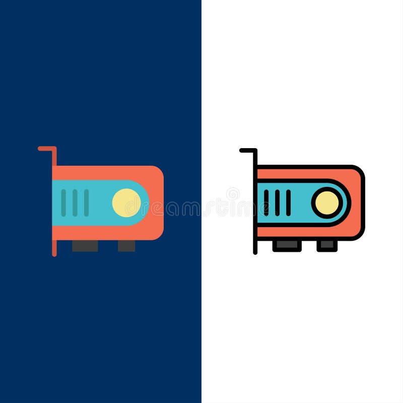 Υπολογιστής, δύναμη, τεχνολογία, εικονίδια υπολογιστών Επίπεδος και γραμμή γέμισε το καθορισμένο διανυσματικό μπλε υπόβαθρο εικον ελεύθερη απεικόνιση δικαιώματος