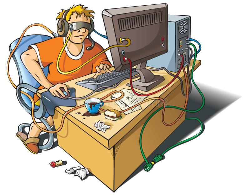 υπολογιστής εθισμού διανυσματική απεικόνιση