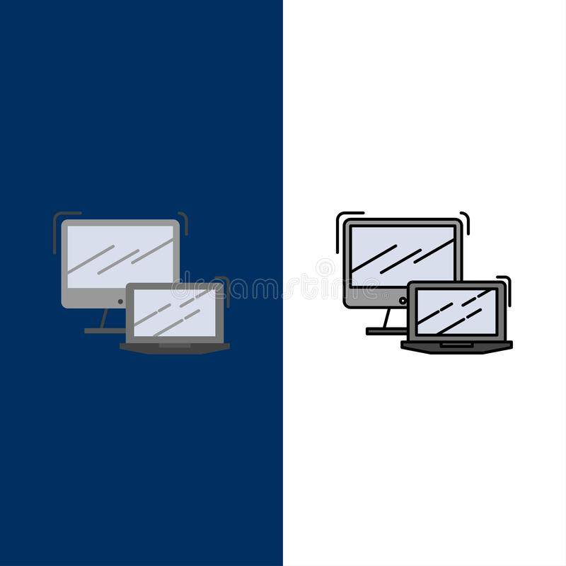 Υπολογιστής, επιχείρηση, lap-top, MacBook, εικονίδια τεχνολογίας Επίπεδος και γραμμή γέμισε το καθορισμένο διανυσματικό μπλε υπόβ διανυσματική απεικόνιση