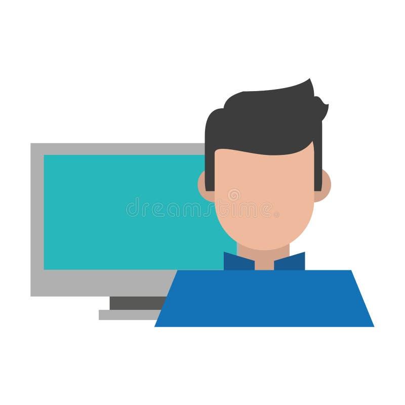 Υπολογιστής και ένα άτομο διανυσματική απεικόνιση