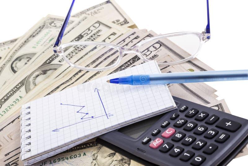 Υπολογιστής και σημειωματάριο στα δολάρια που απομονώνονται πέρα από το λευκό στοκ φωτογραφία με δικαίωμα ελεύθερης χρήσης