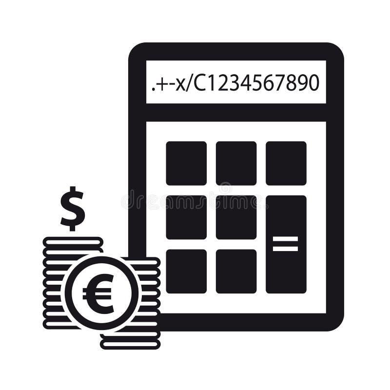 Υπολογιστής και χρήματα - οικονομική έννοια - διανυσματικά εικονίδια ελεύθερη απεικόνιση δικαιώματος