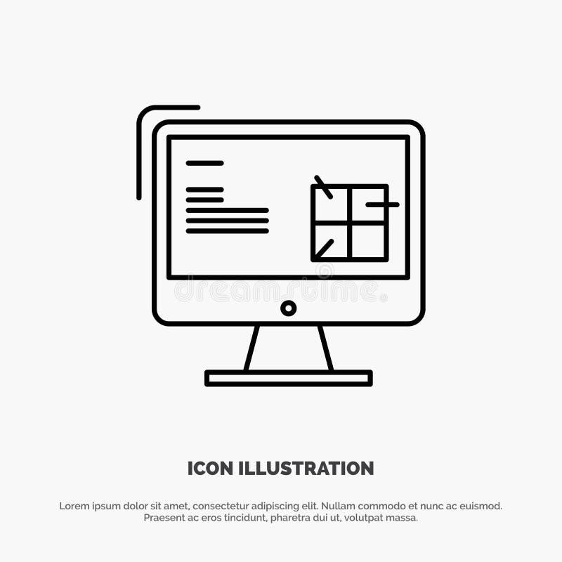 Υπολογιστής, κατασκευή, επισκευή, LCD, διάνυσμα εικονιδίων γραμμών σχεδίου απεικόνιση αποθεμάτων