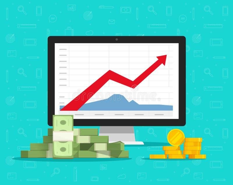 Υπολογιστής με τις γραφικές παραστάσεις αποθεμάτων και διανυσματική απεικόνιση χρημάτων, επίπεδο όργανο ελέγχου PC κινούμενων σχε διανυσματική απεικόνιση