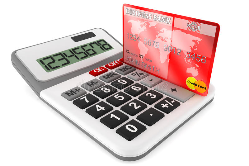 Υπολογιστής με τις πιστωτικές κάρτες απεικόνιση αποθεμάτων