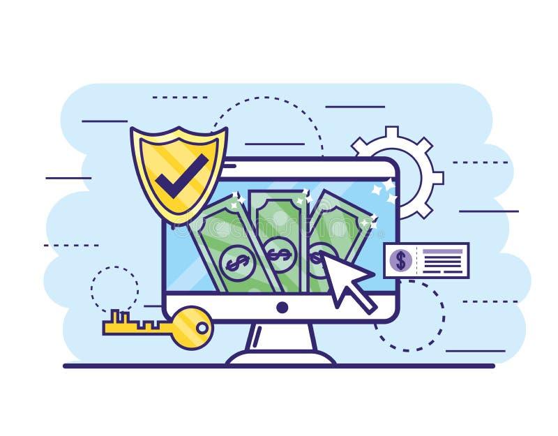 Υπολογιστής με τους λογαριασμούς και κλειδί για τις σε απευθείας σύνδ απεικόνιση αποθεμάτων