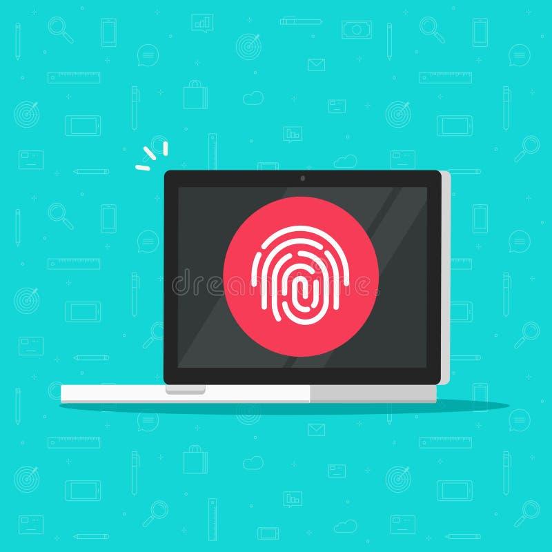 Υπολογιστής με το διανυσματικό εικονίδιο δακτυλικών αποτυπωμάτων, επίπεδο PC lap-top κινούμενων σχεδίων με την ασφαλή τεχνολογία  διανυσματική απεικόνιση