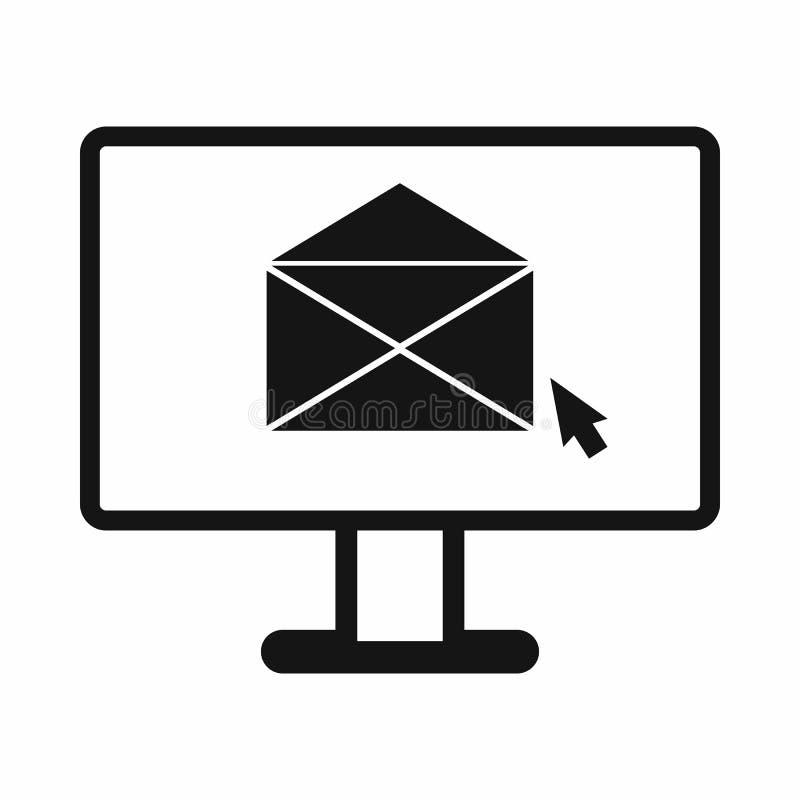 Υπολογιστής με το εικονίδιο ηλεκτρονικού ταχυδρομείου, απλό ύφος διανυσματική απεικόνιση