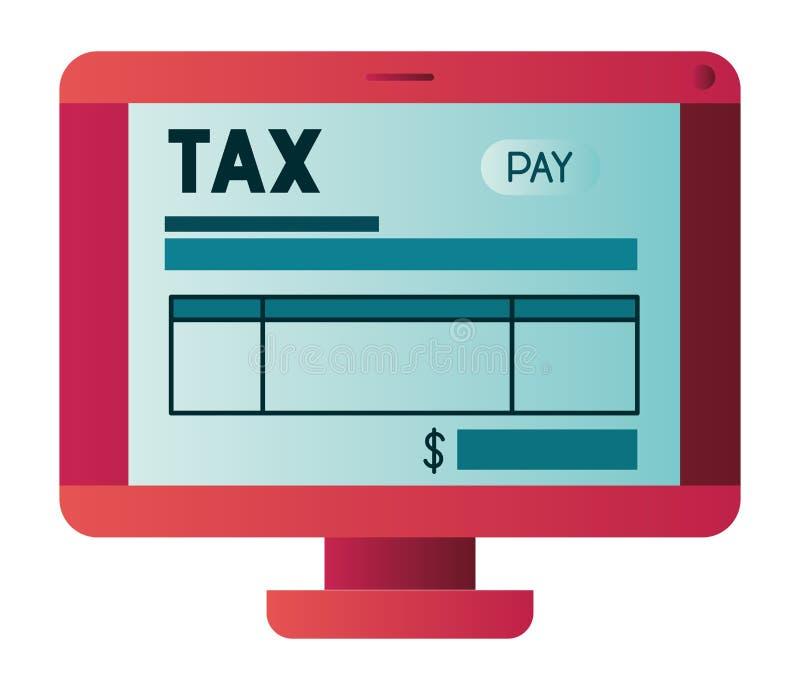 Υπολογιστής με το φόρο σε απευθείας σύνδεση διανυσματική απεικόνιση