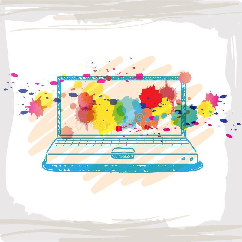 Υπολογιστής σκίτσων γραφής ελεύθερη απεικόνιση δικαιώματος