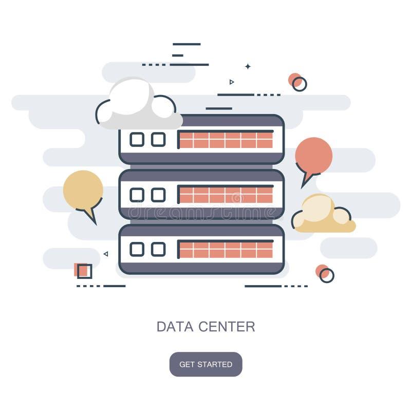 Υπολογιστής σύννεφων κέντρων δεδομένων, φιλοξενία σύνδεσης, βάση δεδομένων κεντρικών υπολογιστών Επίπεδο διάνυσμα απεικόνιση αποθεμάτων