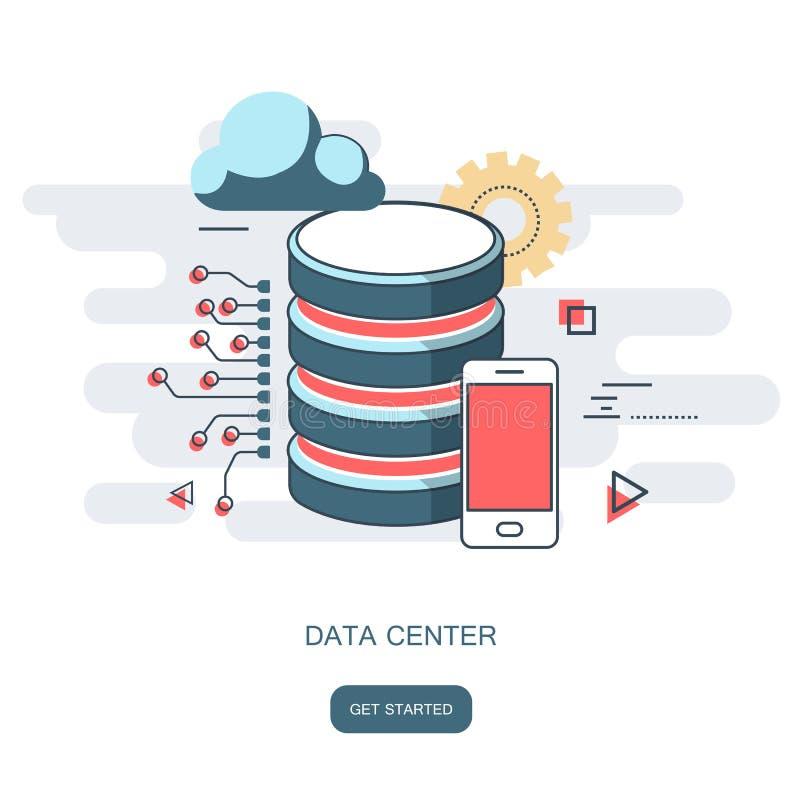 Υπολογιστής σύννεφων κέντρων δεδομένων, φιλοξενία σύνδεσης, βάση δεδομένων κεντρικών υπολογιστών Επίπεδο διάνυσμα διανυσματική απεικόνιση