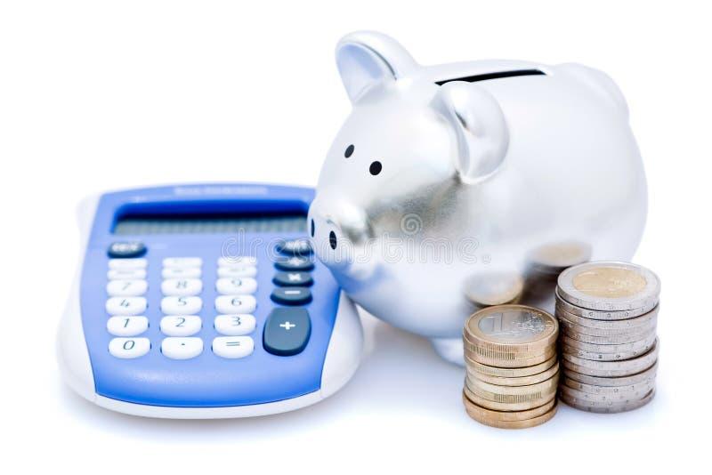 υπολογιστής τραπεζών piggy στοκ φωτογραφία με δικαίωμα ελεύθερης χρήσης