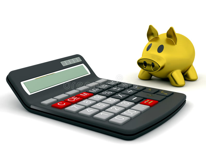 υπολογιστής τραπεζών piggy ελεύθερη απεικόνιση δικαιώματος