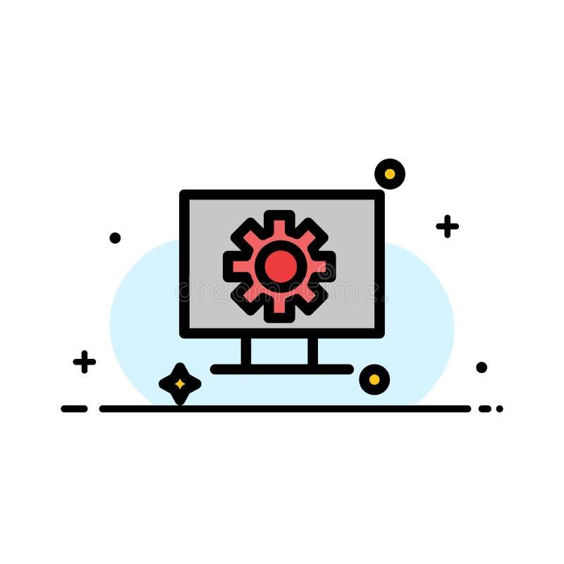 Υπολογιστής, υλικό, ρύθμιση, εργαλείων πρότυπο εμβλημάτων επιχειρησιακών επίπεδο γεμισμένο γραμμή εικονιδίων διανυσματικό απεικόνιση αποθεμάτων