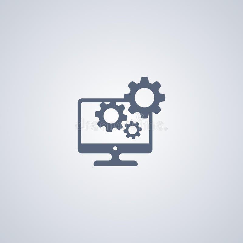 Υπολογιστής υπηρεσιών, κέντρο υποστήριξης, διανυσματικό καλύτερο επίπεδο εικονίδιο διανυσματική απεικόνιση
