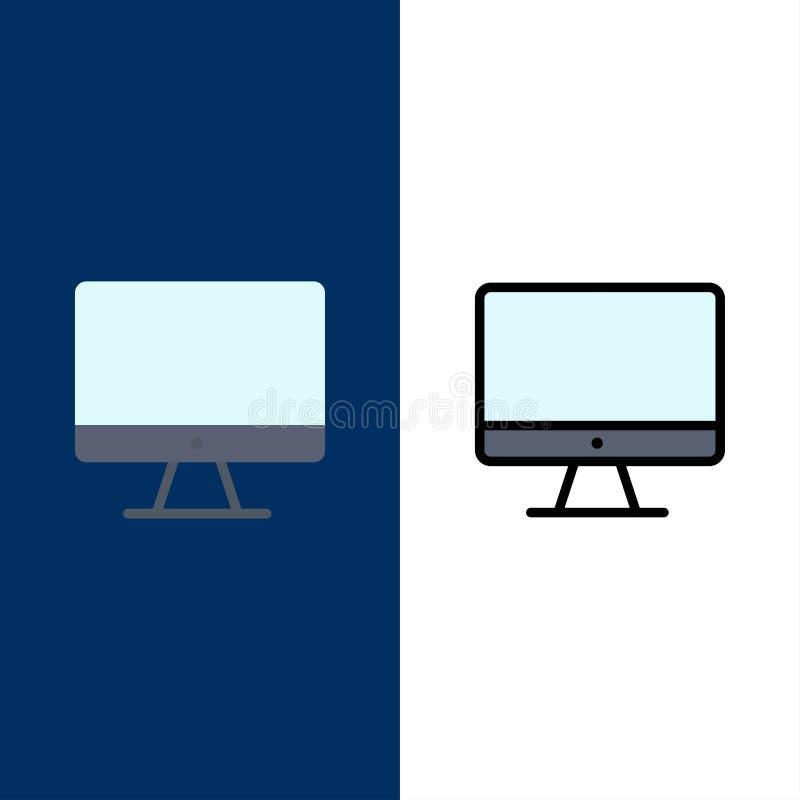 Υπολογιστής, όργανο ελέγχου, οθόνη, εικονίδια υλικού Επίπεδος και γραμμή γέμισε το καθορισμένο διανυσματικό μπλε υπόβαθρο εικονιδ διανυσματική απεικόνιση