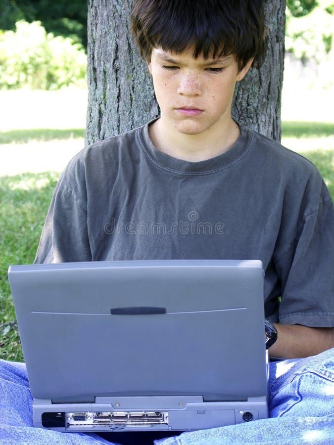 υπολογιστής 3 αγοριών στοκ φωτογραφία