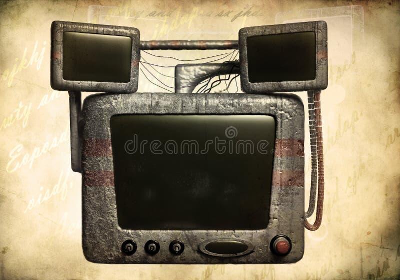 υπολογιστής grunge παλαιός διανυσματική απεικόνιση