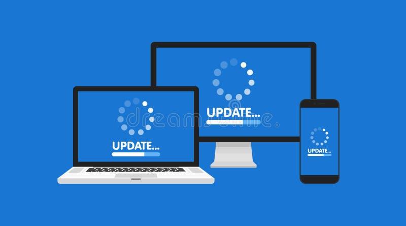 Υπολογιστής, lap-top και smartphone με την οθόνη διαδικασίας αναπροσαρμογών Εγκαταστήστε το νέο λογισμικό, υποστήριξη λειτουργικώ διανυσματική απεικόνιση