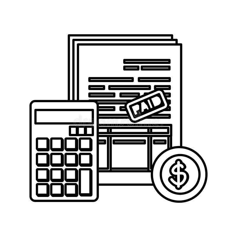 Υπολογιστής math με τους φόρους και το νόμισμα ελεύθερη απεικόνιση δικαιώματος