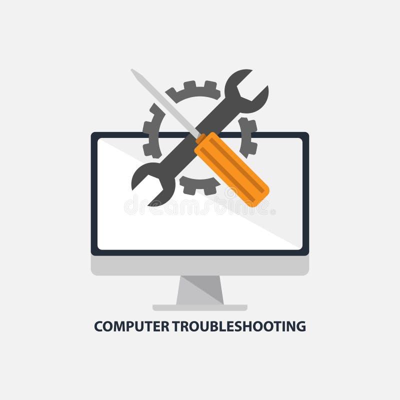 Υπολογιστών ανίχνευσης μηχανικών βλαβών διανυσματική απεικόνιση σχεδίου υπηρεσιών επίπεδη απεικόνιση αποθεμάτων