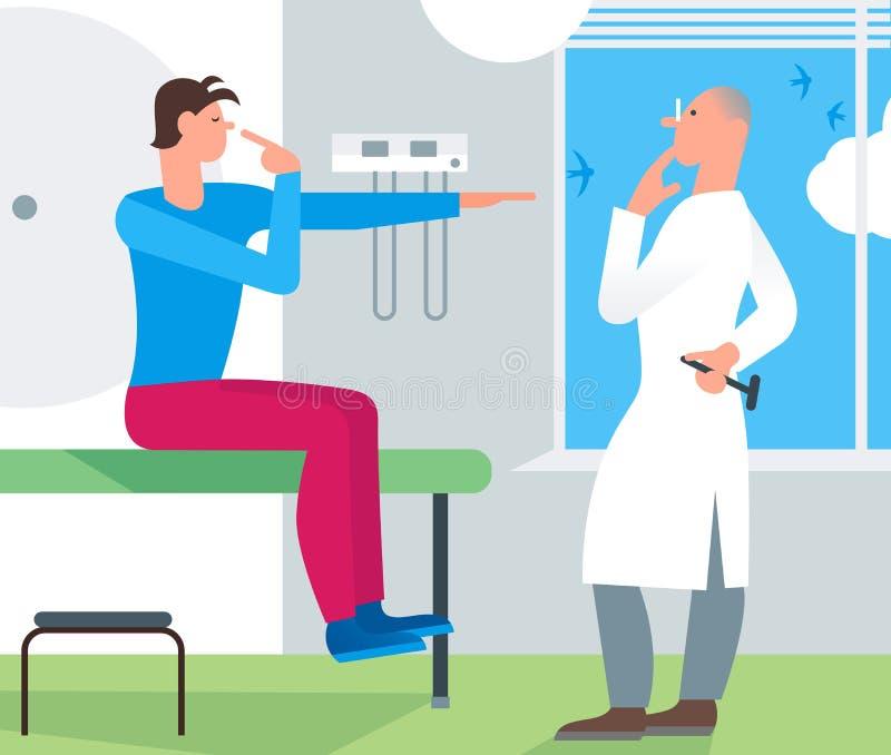 Υπομονετική ιατρική εξέταση γιατρών Εξέταση νευρολόγων γιατρών διανυσματική απεικόνιση