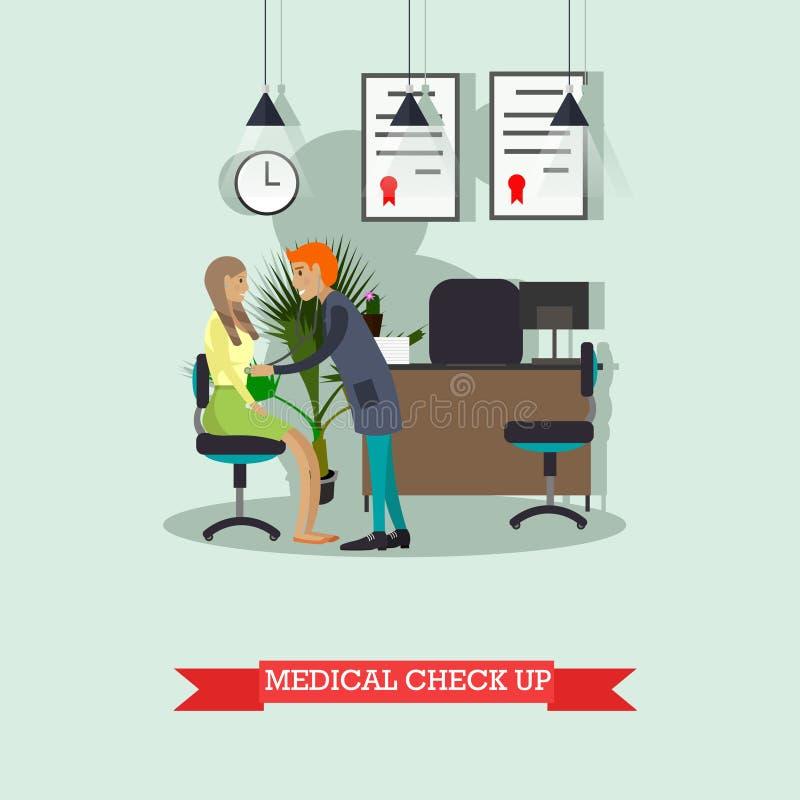 Υπομονετικός ιατρικός έλεγχος συμπεριφοράς γιατρών επάνω Διανυσματική απεικόνιση στο επίπεδο ύφος διανυσματική απεικόνιση
