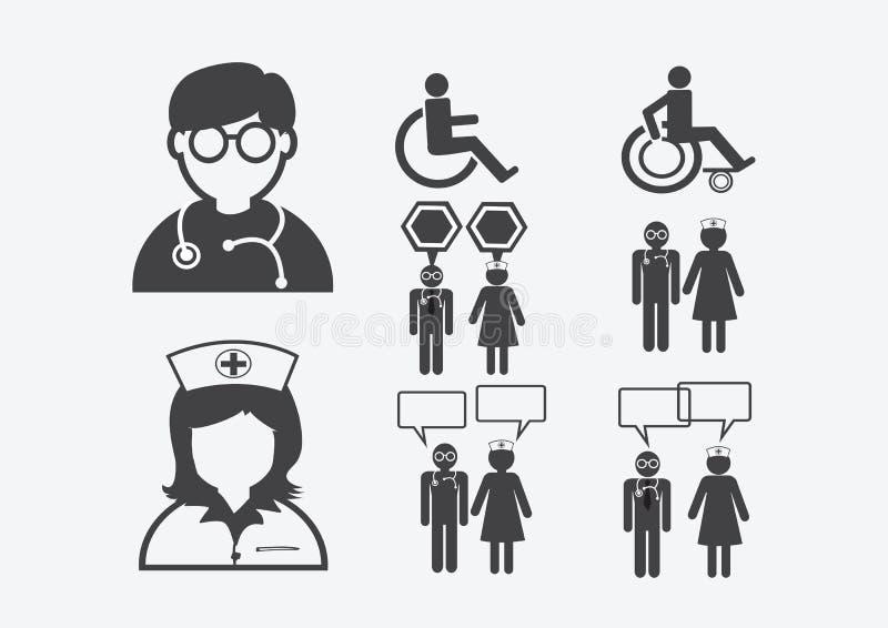 Υπομονετικό άρρωστο εικονόγραμμα συμβόλων σημαδιών εικονιδίων νοσοκόμων γιατρών διανυσματική απεικόνιση