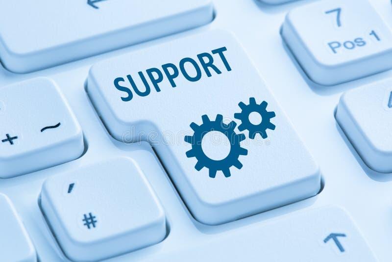 Υποστήριξης εξυπηρέτησης πελατών μπλε υπολογιστής Διαδικτύου βοήθειας σε απευθείας σύνδεση keyb στοκ φωτογραφίες