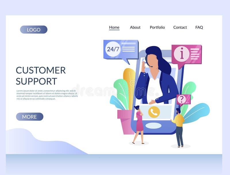Υποστήριξης πελατών διανυσματικό πρότυπο σχεδίου σελίδων ιστοχώρου προσγειωμένος διανυσματική απεικόνιση