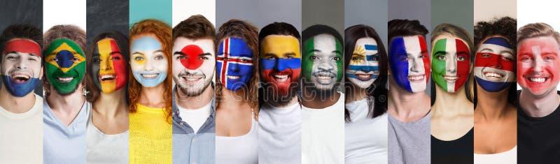 Υποστήριξη αθλητικών ανεμιστήρων, faceart έννοια στοκ εικόνα με δικαίωμα ελεύθερης χρήσης