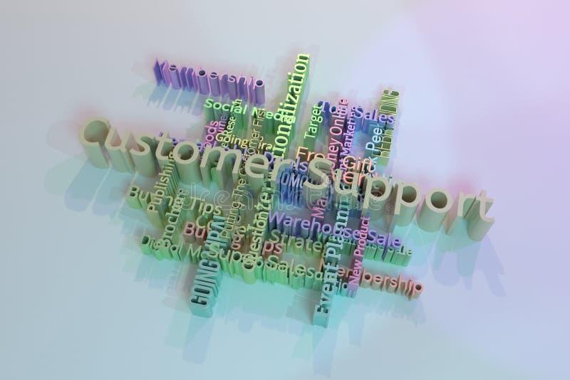 Υποστήριξη πελατών, σύννεφο λέξεων λέξης κλειδιού μάρκετινγκ Για ιστοσελίδας, το γραφικό σχέδιο, τη σύσταση ή το υπόβαθρο r διανυσματική απεικόνιση