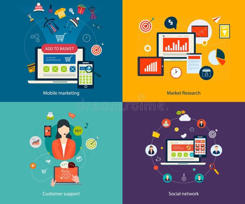 Υποστήριξη πελατών και κοινωνικό δίκτυο διανυσματική απεικόνιση