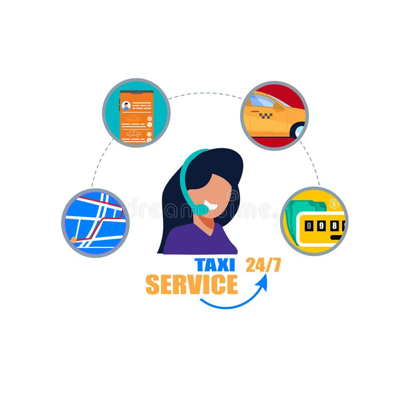 Υποστήριξη χειριστών υπηρεσιών ταξί Τηλεφωνικό τηλεφωνικό κέντρο διανυσματική απεικόνιση