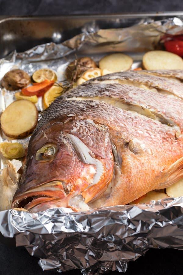 Υποστηριγμένα φούρνος ψάρια λυθρινιών με τα λαχανικά, ακριβώς από το Ov στοκ φωτογραφίες με δικαίωμα ελεύθερης χρήσης