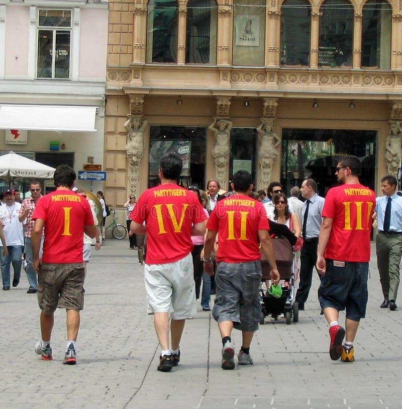 Υποστηρικτές ποδοσφαίρου για το UEFA ευρώ αγώνα ποδοσφαίρου του 2008 τελικό στοκ φωτογραφίες με δικαίωμα ελεύθερης χρήσης