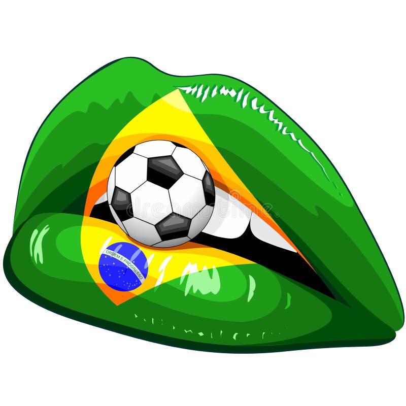 Υποστηρικτές ποδοσφαίρου κραγιόν σημαιών της Βραζιλίας απεικόνιση αποθεμάτων
