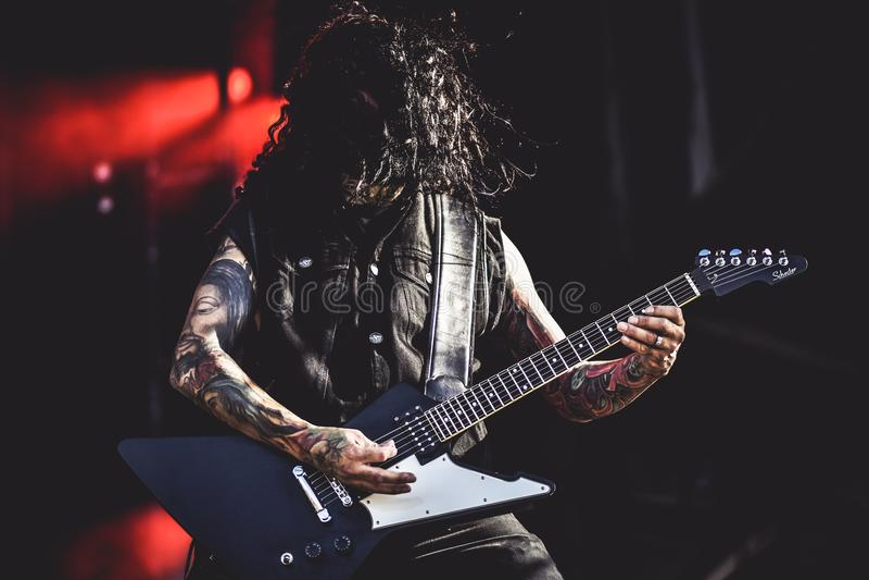 Υπουργείο, ζωντανή συναυλία Hellfest 2017 Cesar Soto στοκ φωτογραφία