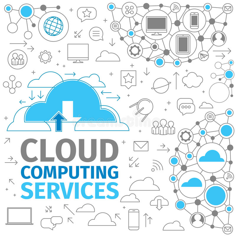 υπολογίζοντας υπηρεσίες σύννεφων διανυσματική απεικόνιση