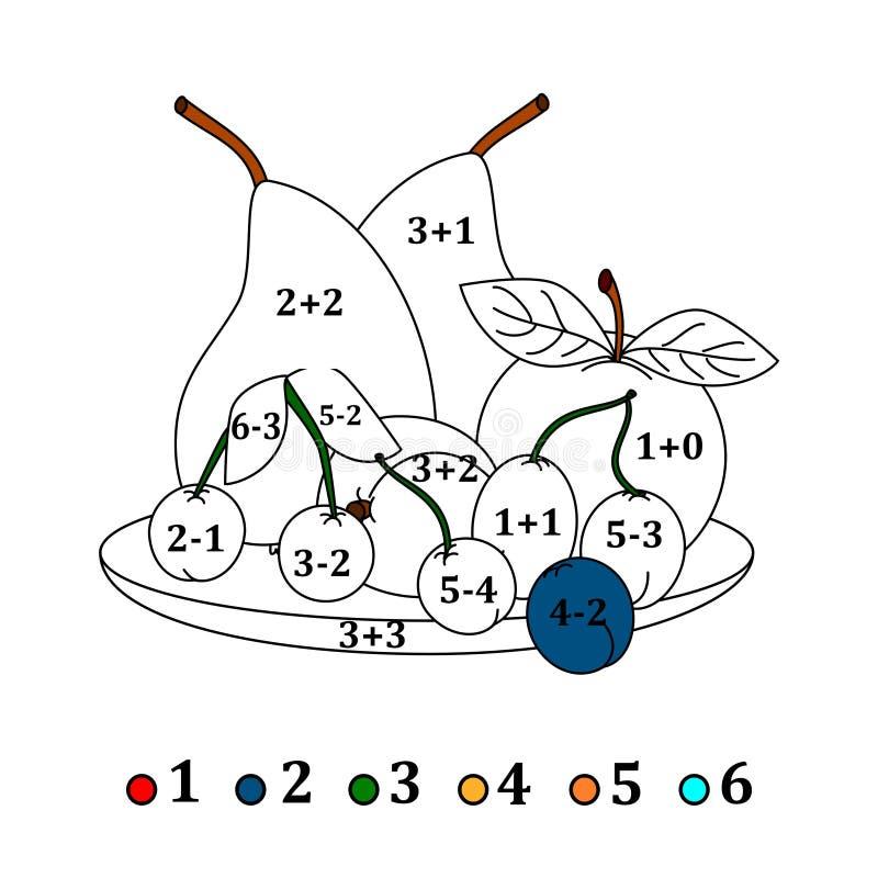 Υπολογίστε τα παραδείγματα και γεμίστε τα χρώματα ανάλογα με το αποτέλεσμα - φρούτα απεικόνιση αποθεμάτων
