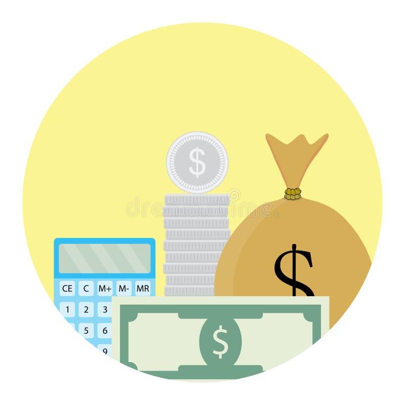 Υπολογίστε το εικονίδιο χρημάτων ελεύθερη απεικόνιση δικαιώματος