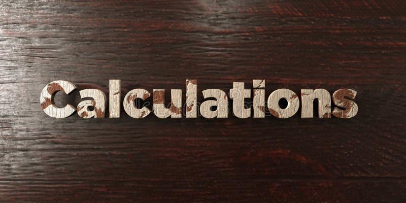 Υπολογισμοί - βρώμικος ξύλινος τίτλος στο σφένδαμνο - τρισδιάστατο δικαίωμα ελεύθερη εικόνα αποθεμάτων διανυσματική απεικόνιση