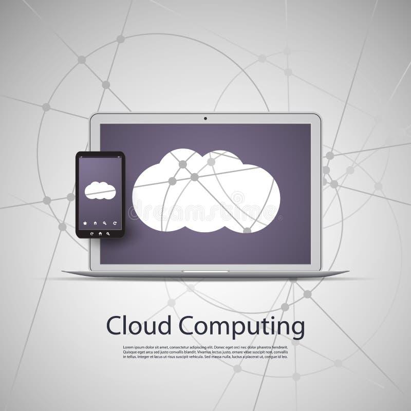 Υπολογισμός σύννεφων και έννοια δικτύων με το φορητό προσωπικό υπολογιστή και το έξυπνο τηλέφωνο ελεύθερη απεικόνιση δικαιώματος