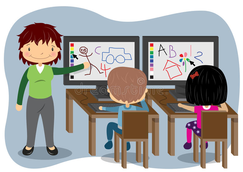 Υπολογιστές διδασκαλίας διανυσματική απεικόνιση