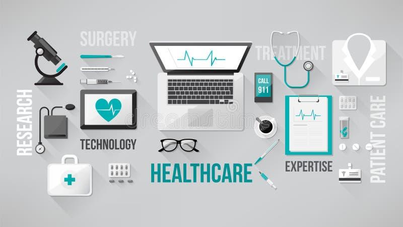 Υπολογιστής γραφείου γιατρού απεικόνιση αποθεμάτων