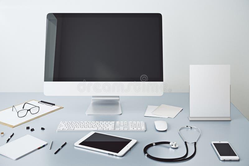 Υπολογιστής γραφείου γιατρών ` s διανυσματική απεικόνιση