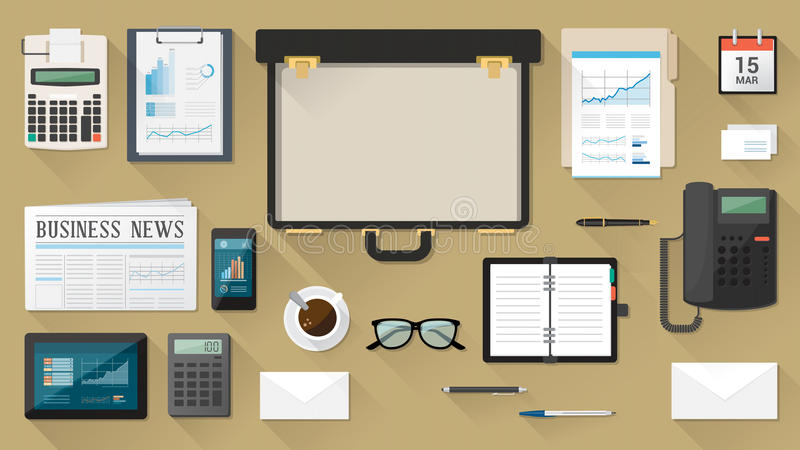 Υπολογιστής γραφείου επιχειρηματιών με το χαρτοφύλακα απεικόνιση αποθεμάτων