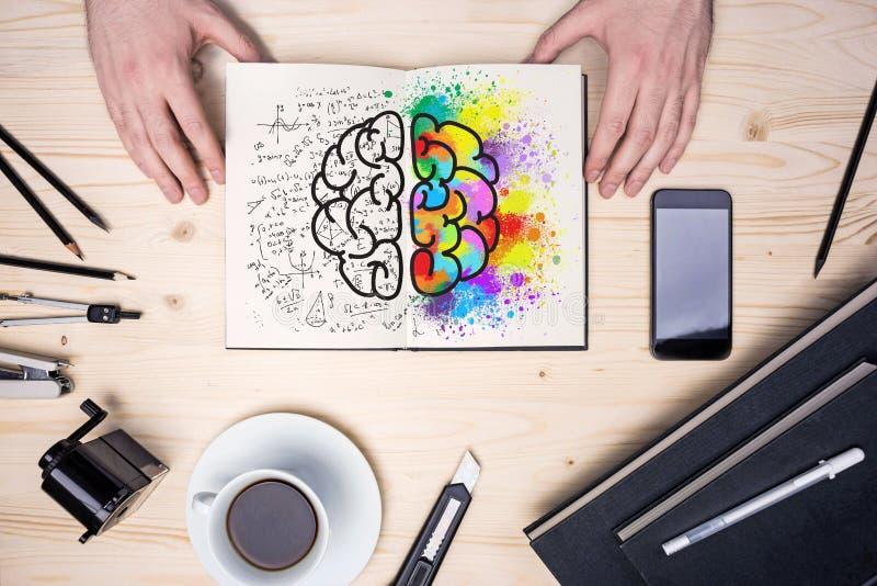 Υπολογιστής γραφείου με το σκίτσο εγκεφάλου στοκ φωτογραφία